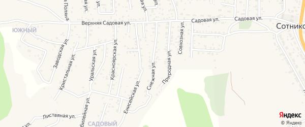 Квартал Садовый Снежная улица на карте села Сотниково с номерами домов