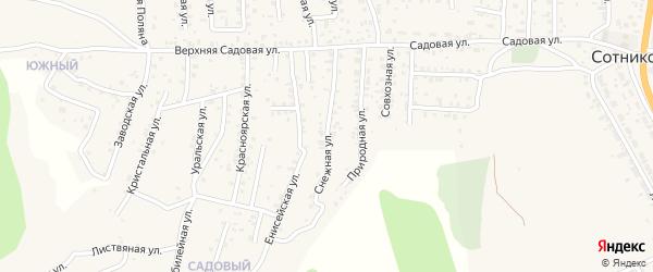 Снежная улица на карте села Сотниково с номерами домов