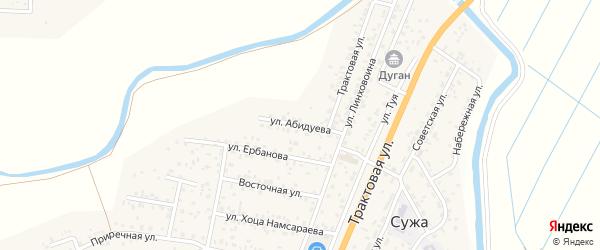 Улица Абидуева на карте улуса Нур-селения с номерами домов