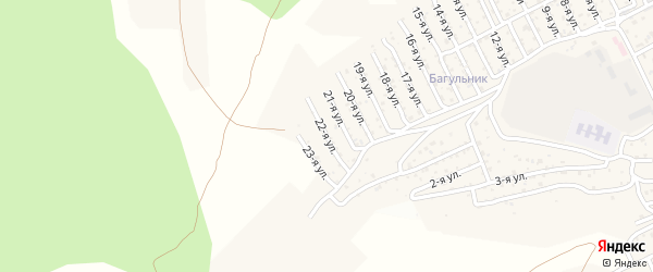 2-й квартал 22-я улица на карте территории СНТ Багульника с номерами домов