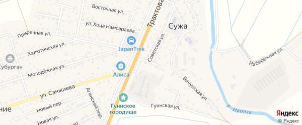 Дорожная улица на карте села Сужа с номерами домов