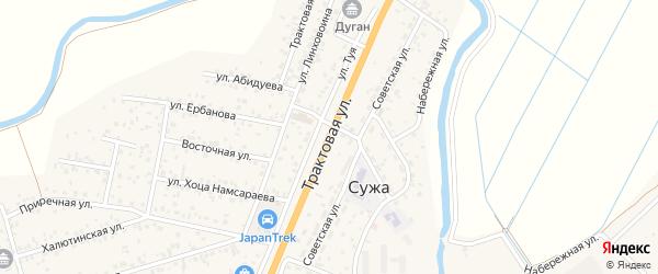 Трактовая улица на карте села Сужа с номерами домов
