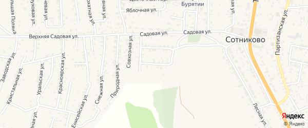 Восточный переулок на карте территории ДНТ Выбора с номерами домов