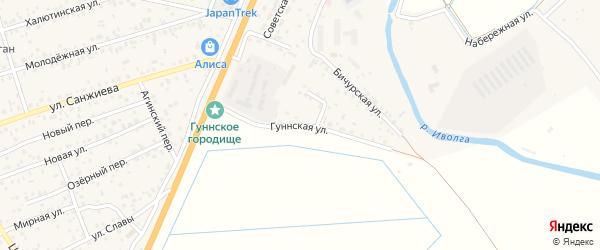 Гуннская улица на карте села Сужа с номерами домов