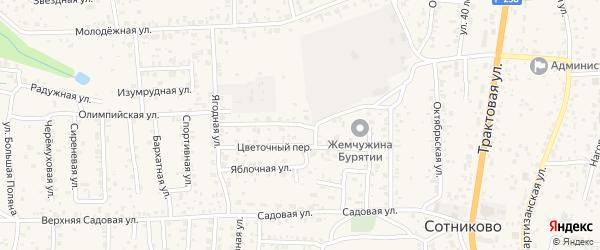 Земляничный переулок на карте села Сотниково с номерами домов
