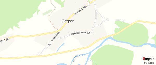 Набережная улица на карте села Острога с номерами домов