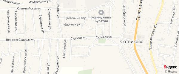 Улица Садовая квартал Садовый на карте села Сотниково с номерами домов