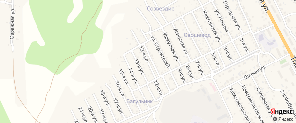 2-й квартал 12-я улица на карте территории СНТ Багульника с номерами домов