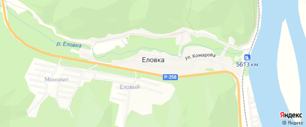 СНТ Якорь на карте поселка Еловка с номерами домов