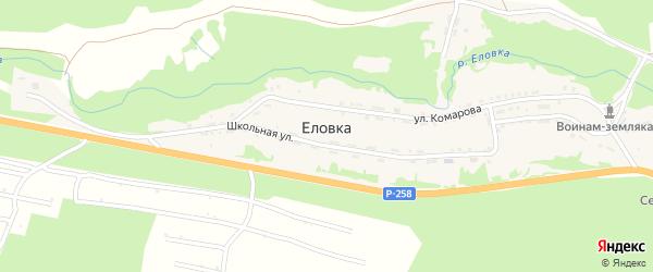 Заречная улица на карте поселка Еловка с номерами домов
