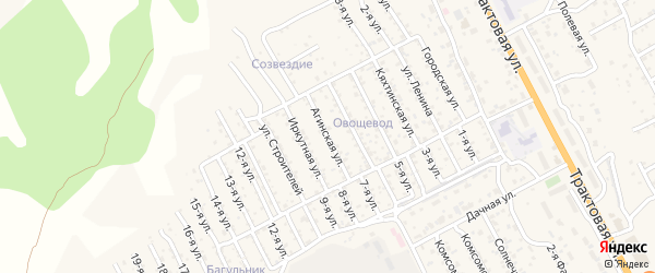 Улица Агинская (ДНТ Овощевод) на карте села Сотниково с номерами домов