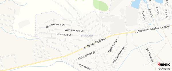 Карта территории СТ Тулунжи города Улан-Удэ в Бурятии с улицами и номерами домов