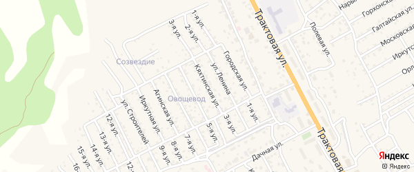 Кяхтинская улица на карте территории ДНТ Овощевода с номерами домов