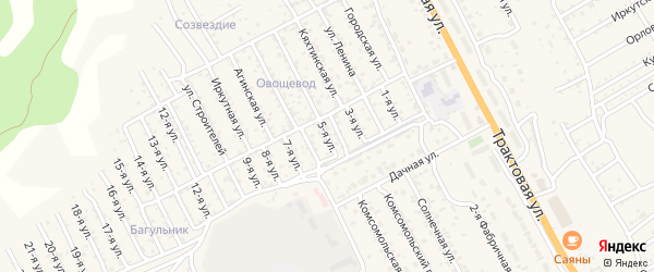 1-й квартал 5-я улица на карте территории СНТ Багульника с номерами домов