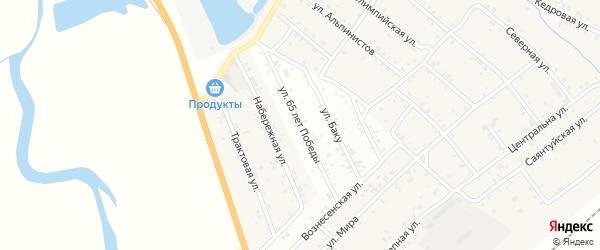 Улица 65 лет Победы на карте дачного некоммерческого партнерства ДНТ Весны с номерами домов