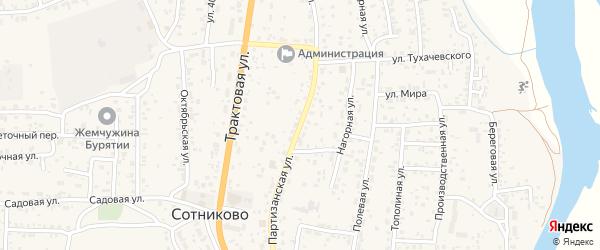 Партизанская улица на карте села Сотниково с номерами домов