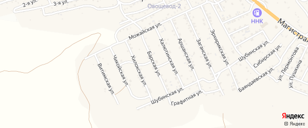 Квартал Горный Барская улица на карте села Сотниково с номерами домов