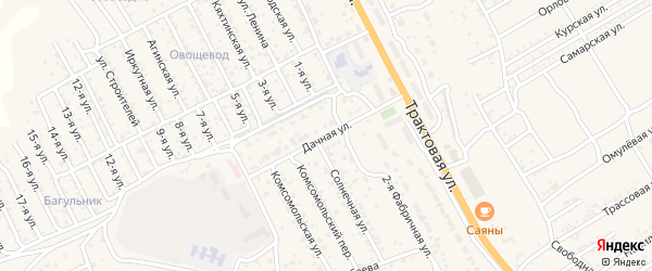 Дачная улица на карте территории ДНТ Авиатор-2 с номерами домов
