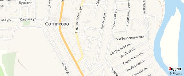 Подгорный переулок на карте села Сотниково с номерами домов