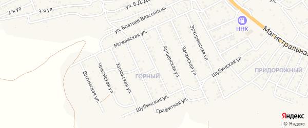 Квартал Горный Халютинская улица на карте села Сотниково с номерами домов