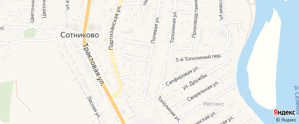 Полевая улица на карте села Сотниково с номерами домов