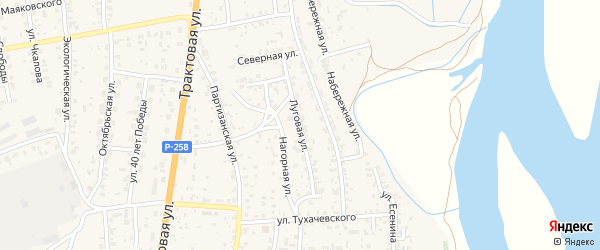 Луговая улица на карте села Сотниково с номерами домов