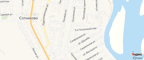 Тополиная улица на карте села Сотниково с номерами домов