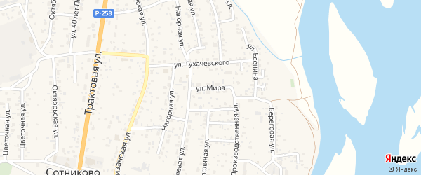 Улица Мира на карте села Сотниково с номерами домов