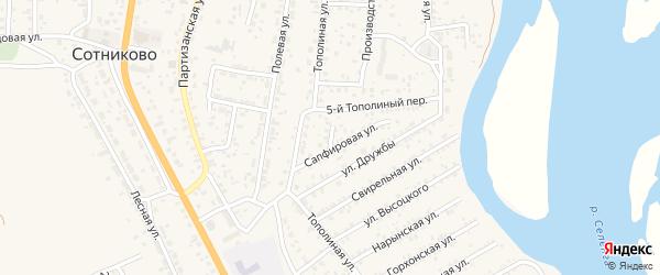 Улица Далахайская (ДНТ Респект) на карте села Сотниково с номерами домов