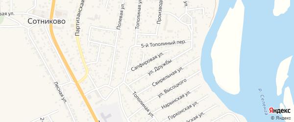 Сапфировая улица на карте территории ДНТ Респекта с номерами домов