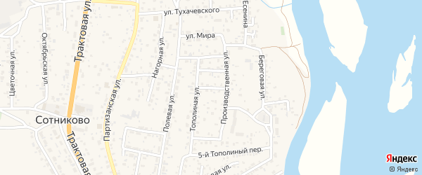 Тополиный 3-й переулок на карте села Сотниково с номерами домов