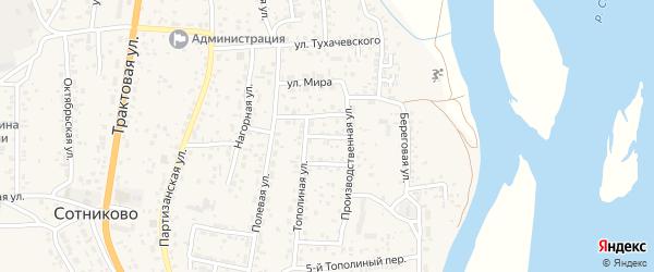 Тополиный 2-й переулок на карте села Сотниково с номерами домов