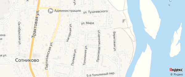 Улица Тополиный 2-й на карте села Сотниково с номерами домов