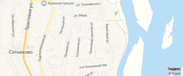 Производственная улица на карте села Сотниково с номерами домов