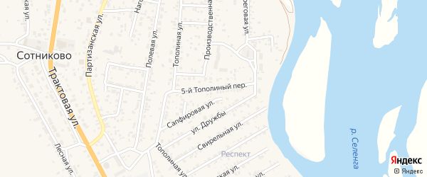 Тополиный 5-й переулок на карте села Сотниково с номерами домов