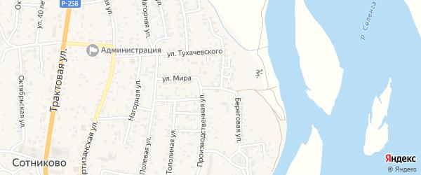 Квартал Садовый Верхний Садовый 1-й переулок на карте села Сотниково с номерами домов