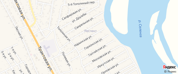 Нарынская улица на карте территории ДНТ Респекта с номерами домов