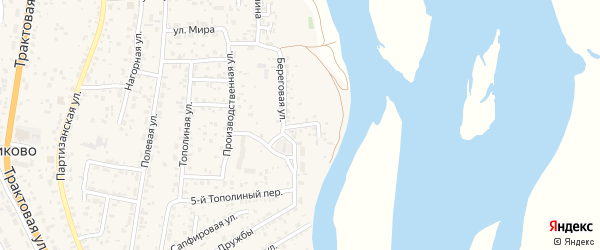 Береговой переулок на карте села Сотниково с номерами домов