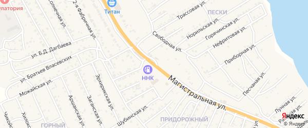 Квартал Придорожный Магистральная улица на карте села Сотниково с номерами домов