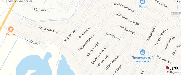 Улица Родниковая квартал Северный на карте села Сужа с номерами домов