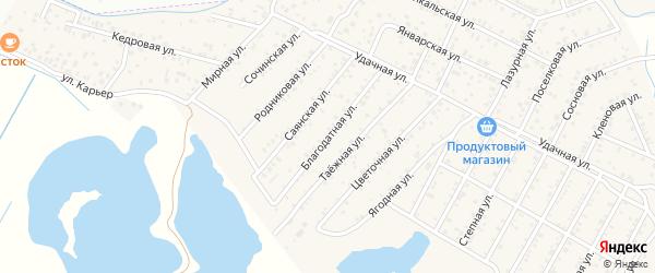Улица Благодатная квартал Северный на карте села Сужа с номерами домов