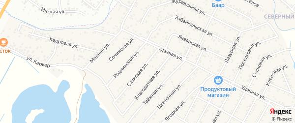 Улица Саянская квартал Северный на карте села Сужа с номерами домов