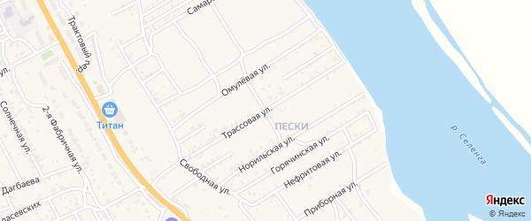 Трассовая улица на карте села Сотниково с номерами домов