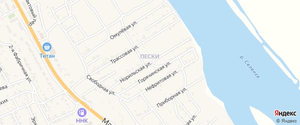 Норильская улица на карте села Сотниково с номерами домов
