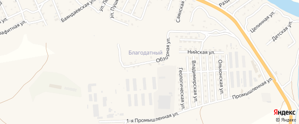 Обзорная улица на карте территории ДНТ Благодатного с номерами домов