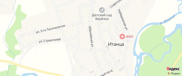 Юбилейная улица на карте села Итанца с номерами домов