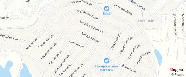 Улица Январская квартал Северный на карте села Сужа с номерами домов