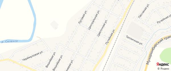 Центральная улица на карте дачного некоммерческого партнерства ДНТ Саянтуй с номерами домов