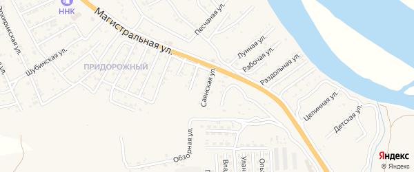 Квартал Придорожный Саянская улица на карте села Сотниково с номерами домов