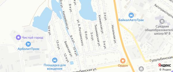 Улица 6-я (СНТ Стекольщик) на карте Улан-Удэ с номерами домов